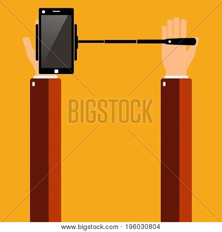 Hands holding a smartphone with selfie stick. Vector illustration.