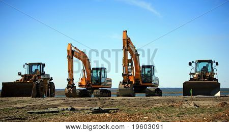 Heavy construction equipment backhoe bulldozer