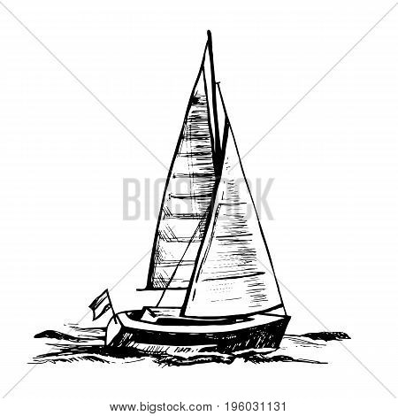 Vector sketch illustration.  Sailingboat. Sea yacht floats on the surface of the water.