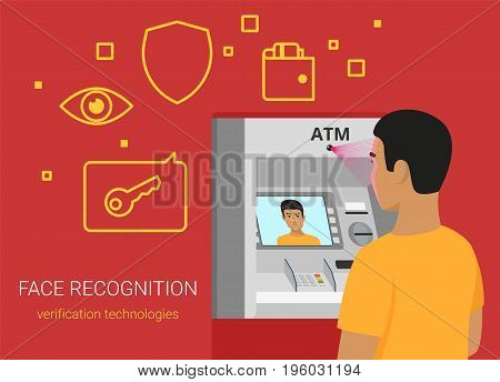Face recognition and atm identification. Flat vector illustration of young african man getting access to bank atm by face recognition technology. Yong man standing near bankomat with face on screen