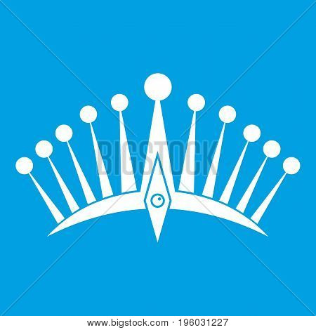 Big crown icon white isolated on blue background vector illustration