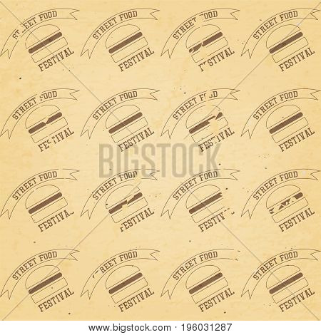 Сraft Recycled Paper Texture. Seamless Craft Packaging with Burgers - Emblem Street Food Festival. Vector Illustration.