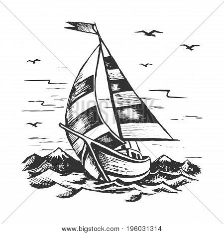 Sailboat in the background of the mountains.Hand drawn vector sketch. The yacht sails on the waves. Gulls in the sky.