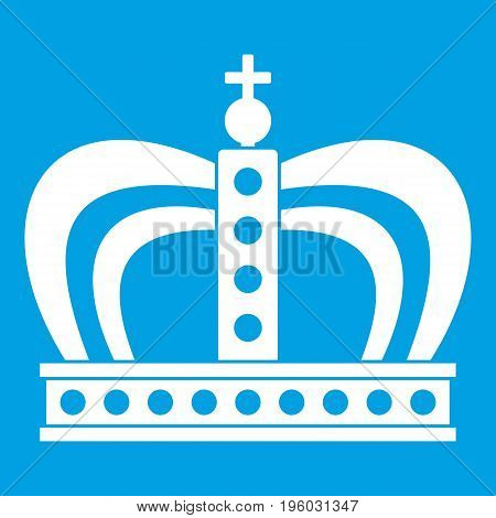 Monarchy crown icon white isolated on blue background vector illustration