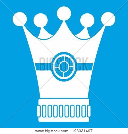 Medieval crown icon white isolated on blue background vector illustration