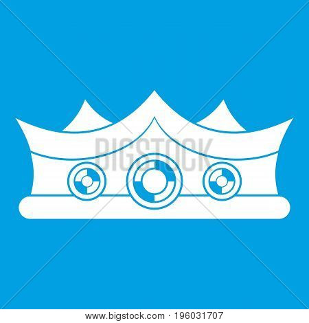 King crown icon white isolated on blue background vector illustration