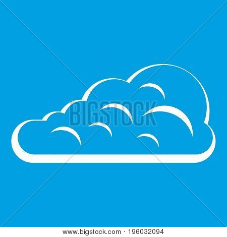 Cumulus cloud icon white isolated on blue background vector illustration