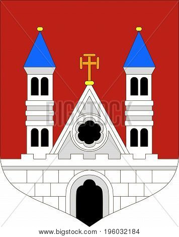 Coat of arms of Plock city in Masovian Voivodeship in eastern Poland. Vector illustration