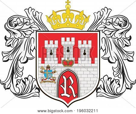 Coat of arms of Radom city in Masovian Voivodeship in eastern Poland. Vector illustration from the