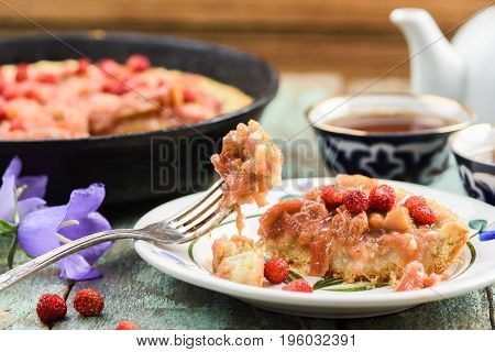Rustic rhubarb pie with fresh forest strawberries eaten with vintage melchior fork closeup