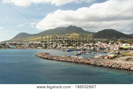 Mountain and ocean views of the tropical island of St. Kitts