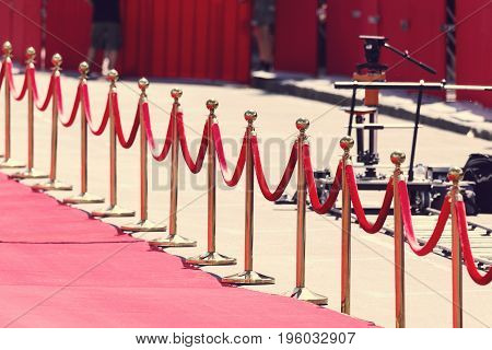 Way To Success On The Red Carpet (barrier Rope). Toning. Selective Focus
