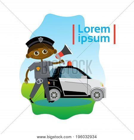 Small Boy Policeman Over Police Car African American Kid Officer Flat Vector Illustration