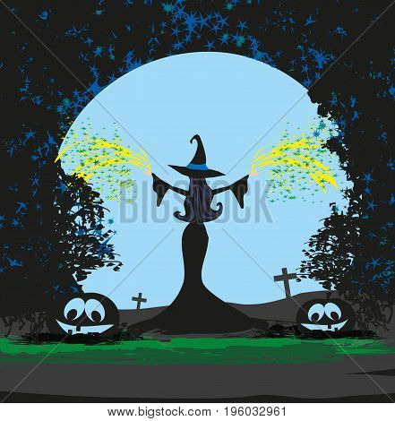 Magical witch casting a magic spell , vector illustration