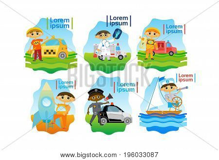 Kids Trying Different Professions Set Small Boys Collection Flat Vector Illustration