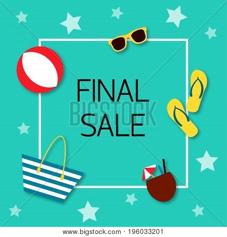 Final sale Vector illustration Trendy design template for the online store shop poster and banner The inscription Final sale in white frame with icons of different beach accessories