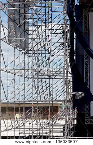 Stage Construction On Stadium For Rock Concert. Empty Stage Before Concert Rock Stars. Installation