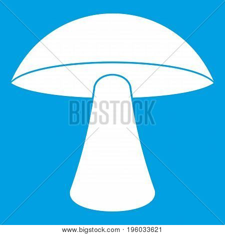 Birch mushroom icon white isolated on blue background vector illustration