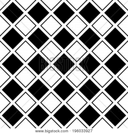 Seamless abstract black and white square grid pattern - halftone vector background graphic design from diagonal squares