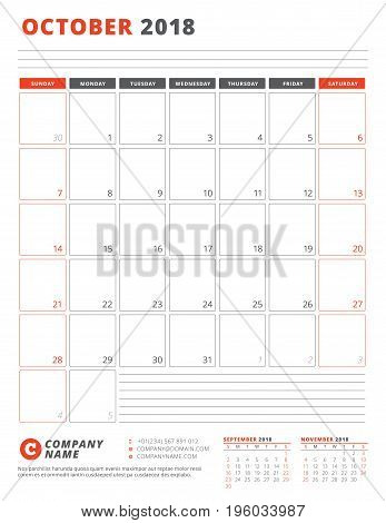 Calendar Template For 2018 Year. October. Business Planner 2018 Template. Stationery Design. Week St