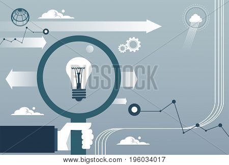 Business Man Hand Hold Magnifying Glass With Light Bulb New Idea Concept Flat Vector Illustration
