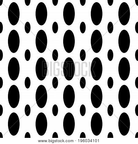 Monochrome seamless geometrical ellipse pattern - vector background design from vertical curved oval shapes