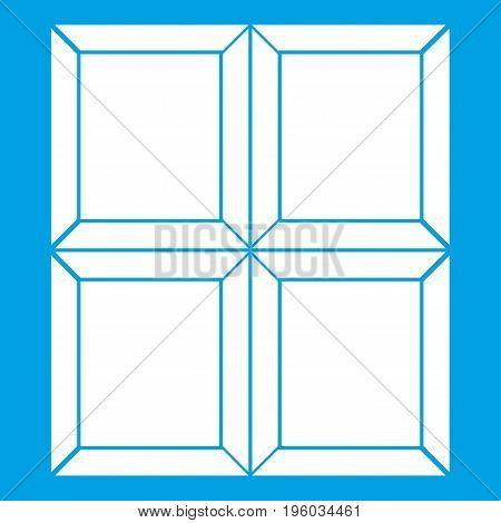Chocolate piece icon white isolated on blue background vector illustration