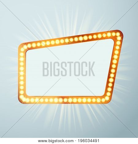 Night retro cinema circus announcement light show sign. Bright  metal attractive casino bulb signage. Empty old vintage retro style frame. Vector illustration