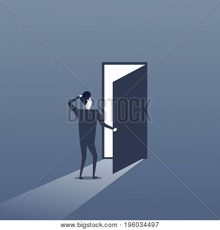 Business Man Standing at Door Entrance Businessman New Opportunity Future Concept Flat Vector Illustration
