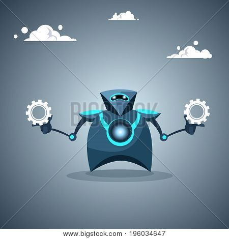 Modern Robot Holding Cog Wheel Artificial Intelligence Futuristic Mechanism Technology Vector Illustration
