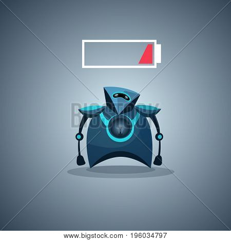 Modern Robot Low Battery Charge Artificial Intelligence Futuristic Mechanism Technology Vector Illustration
