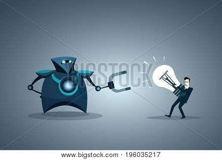 Modern Robot Holding Magnet Taking Light Bulbs Ideas From Business Man Vector Illustration