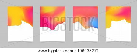 Liquid fluid Abstract bright orange Colorful Poster Collection. Modern design graphic folder layout. Mild halftone color border background. Vector illustration