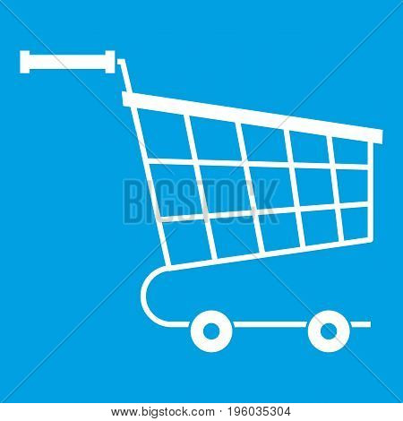 Cart icon white isolated on blue background vector illustration