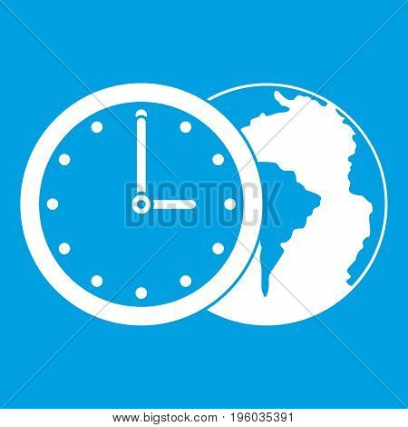 World planet with watch icon white isolated on blue background vector illustration