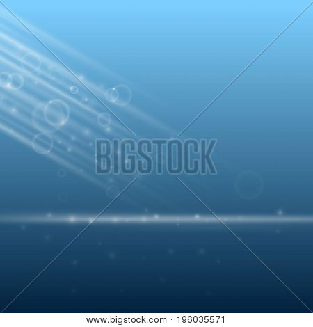 Abstract blue stage branding poster modern background layout. Deep water empty scene with light rays lens flares ready to place graphic or design. Vector illustration