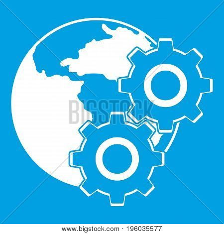 World planet and gears icon white isolated on blue background vector illustration