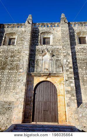 Facade of old church in Campeche Mexico