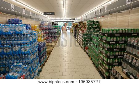 PRAGUE, CZECH REPUBLIC - JULY 19, 2017: Beers and nonalcoholic beverages in a LIDL supermarket. LIDL is a German discount chain founded in 1973 by German merchant Dieter Schwarz.