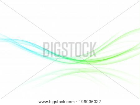 Abstract refreshing futuristic motion swoosh wave. Bright vibrant halftone futuristic gradient border line over white background layout. Vector illustration