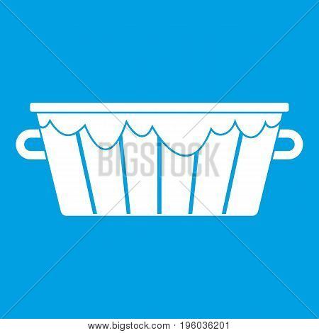 Wooden tub icon white isolated on blue background vector illustration