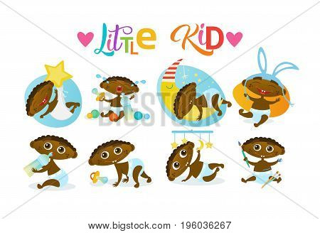 Cute African American Baby Boy Set Toddler Happy Cartoon Infant In Diaper Collection Flat Vector Illustration