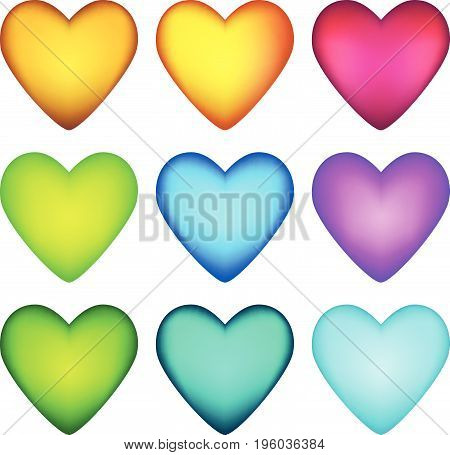 A set of sparkling cartoon glossy hearts in different colors..Vector colorful life assets for gui design. Game elements love symbols.