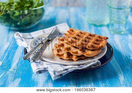 Plain Waffles On A Plate