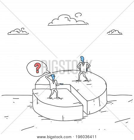 Two Business Men On Pie Diagram Getting Inequality Shares, Businessmen Competition Success Concept Doodle Vector Illustration