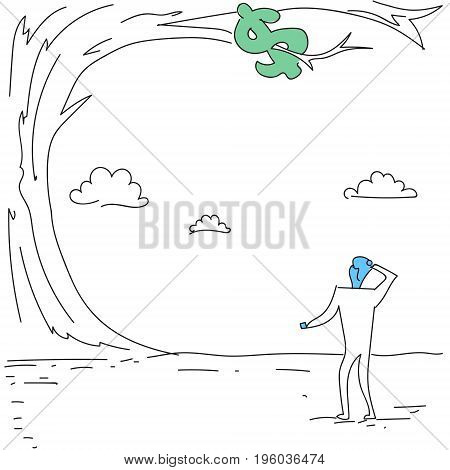 Business Man Looking At Dollar Sign Hanging On Tree Finance Crisis Concept Doodle Vector Illustration