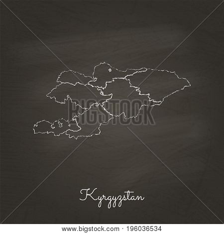 Kyrgyzstan Region Map: Hand Drawn With White Chalk On School Blackboard Texture. Detailed Map Of Kyr