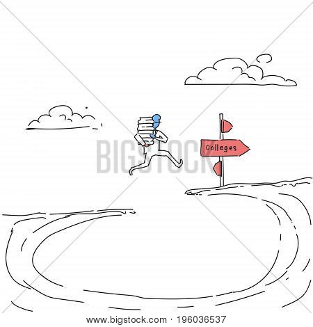 Man Holding Stack Of Book Jump Over Cliff Gap To Colleges Student Education Concept Doodle Vector Illustration