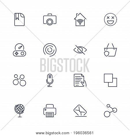 Simple web icons set. Universal web icon to use in web and mobile UI, set of basic UI web elements file, printer, mail, game, basket, camera and other. Editable stroke