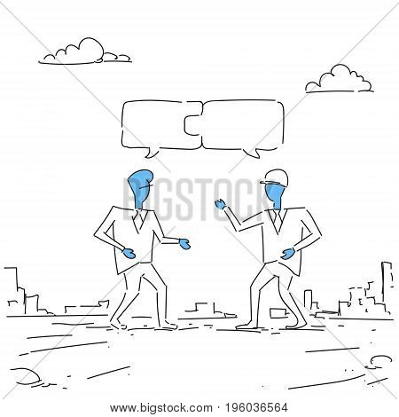 Two Businessmen Collecting Puzzle Teamwork Successful Business Team Development Growth Doodle Vector Illustration